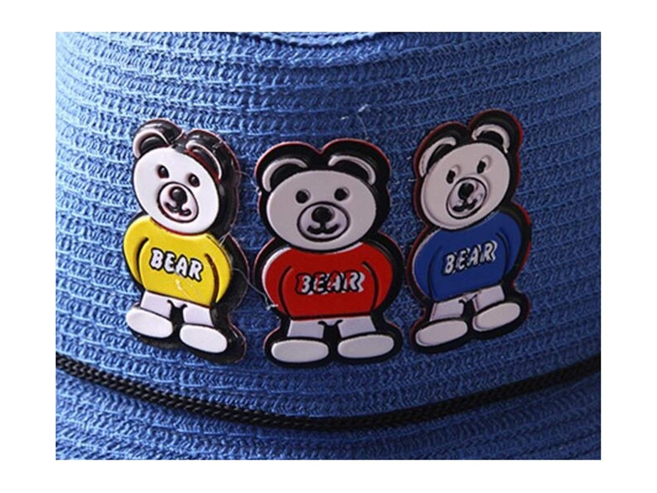 Blue Baby Headwear Toddler Cap Cute Bear Kids Straw Cowboy Hat Children Bowler Hat Sun Protection Breathable Hat for 3-7 Years Old Color : Blue, Size : 52-54cm