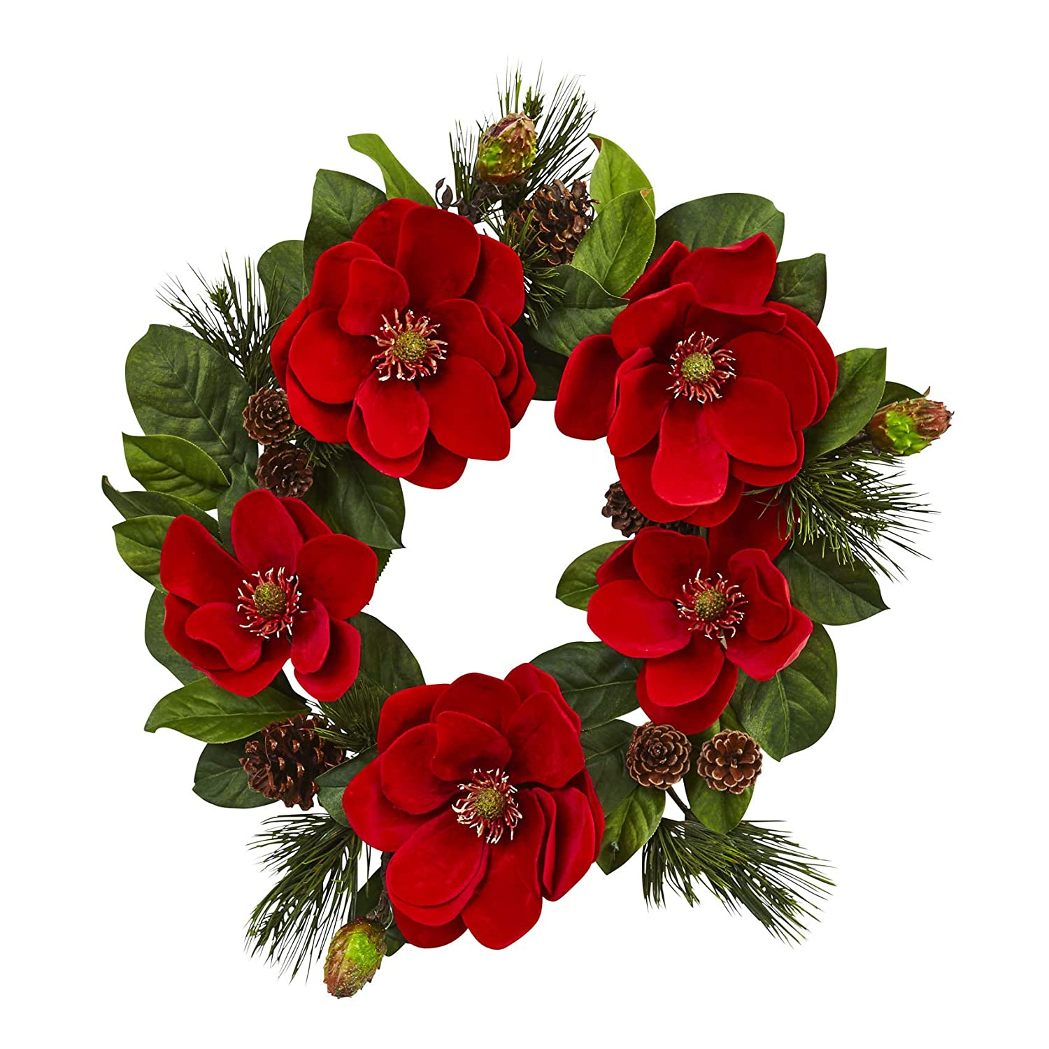 Amazon Com Artificial Plantz Christmas Wreath 24 Inch Red Magnolia