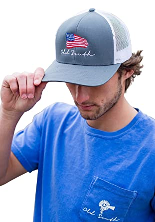 6fbf7fc3af9f45 Old South Apparel American Flag - Trucker Hat at Amazon Men's Clothing  store: