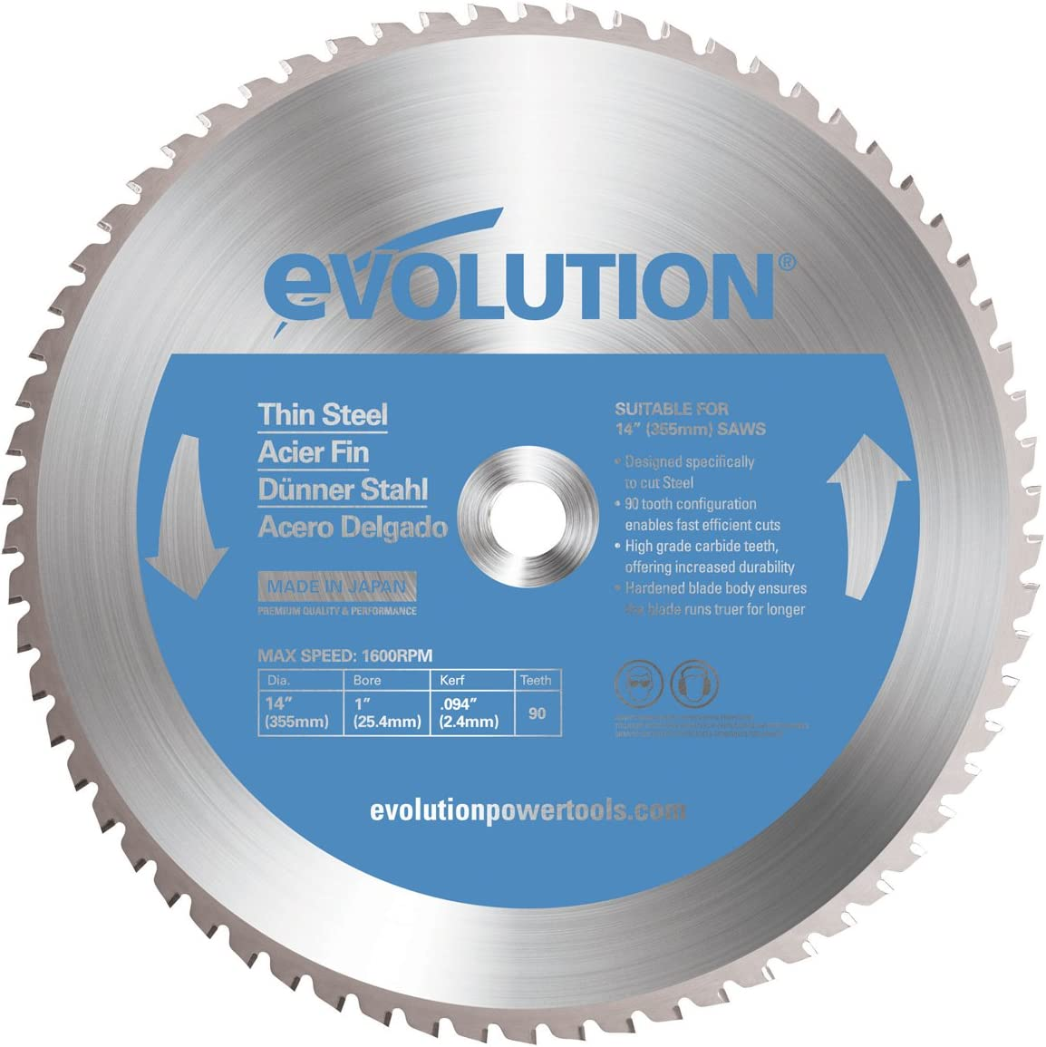 Evolution Power Tools 14BLADETS Tooth Thin Steel Cutting Blade