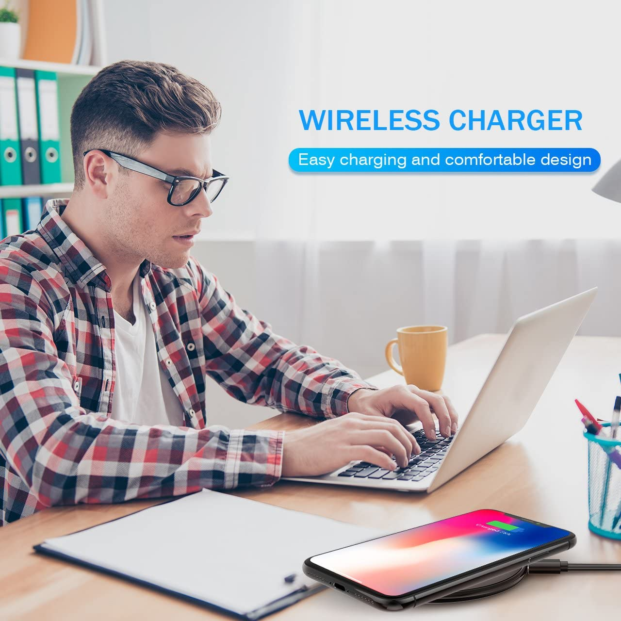 High-Speed AC Adapter Included Qi Wireless Charging Pad for iPhoneX//8//8+ Galaxy S9//S9+//S8//S8+//Note 8//S7//S7 Edge//Note 5 and All Qi-enabled Devices Seneo Upgraded Wireless Charger