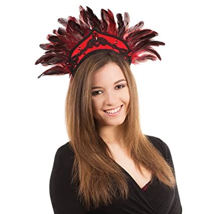 Black Red Feather Carnival Headdress
