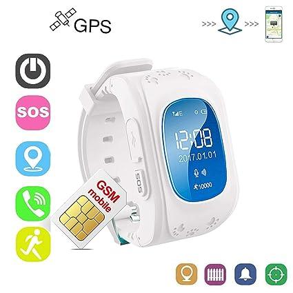 Rastreador Niños GPS Reloj Smartwatch Niños Relojes Inteligentes Niños Español Soporte GPS + LBS de Doble Posicionamiento para Evitar que Los Niños ...