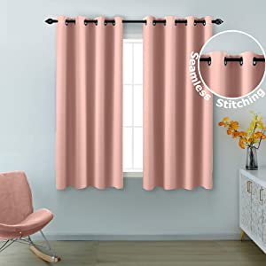 Pink Curtains 54 Inch Length for Girls Room Decor 2 Panels Grommet Window Blackout Drapes Insulated Thermal Light Blocking Blush Room Darkening Curtains for Bedroom Girls Kids Nursery Pale Blush Pink