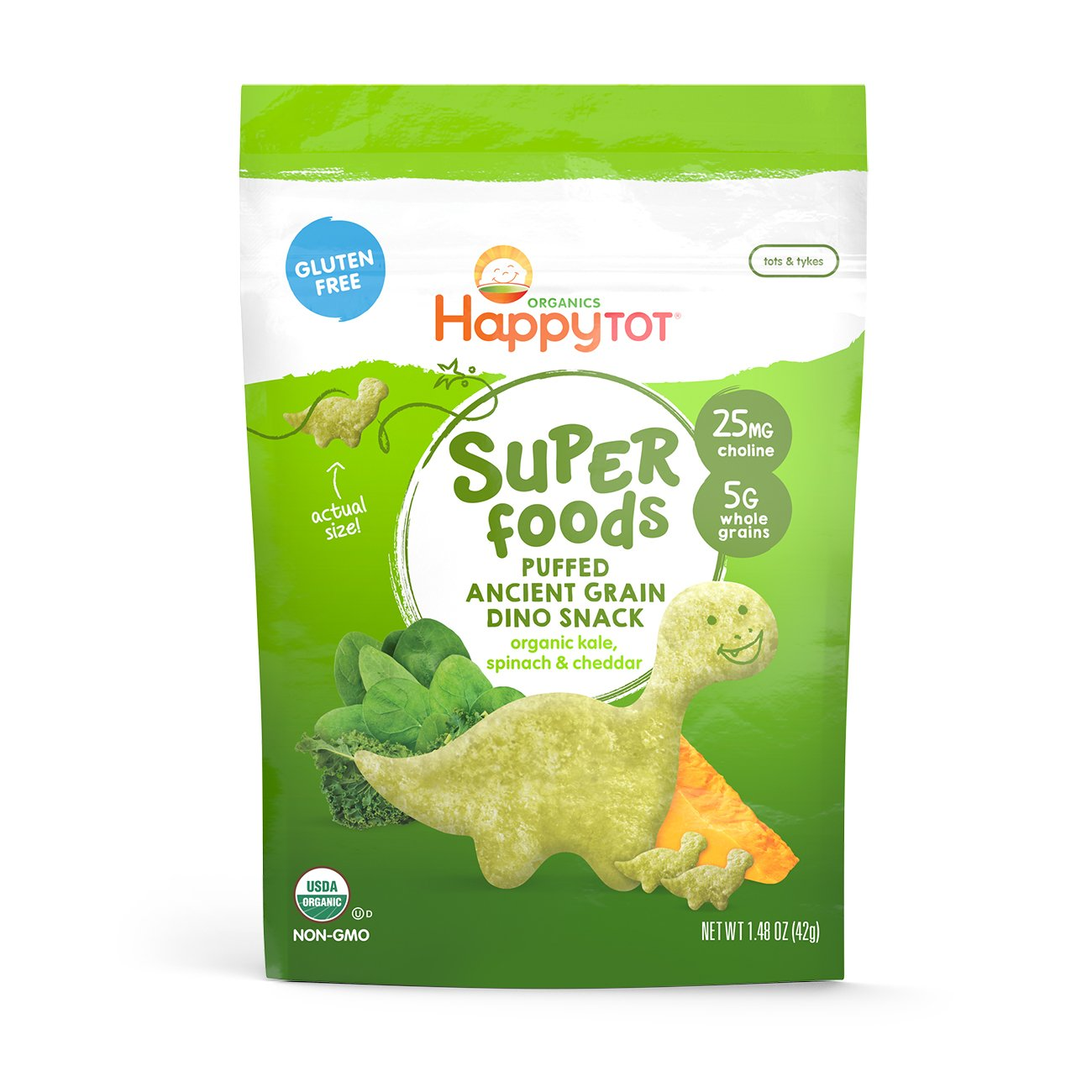 Happy Tot Organic Super Foods Puffed Grain Dino Snacks Kale Spinach & Cheddar, 1.48 Ounce Bag (Pack of 8) Organic Dinosaur-Shaped Toddler Snacks w/ Quinoa & Amaranth, 25mg Choline 5g Whole Grains