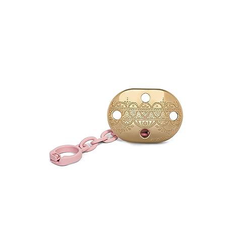 Broche pinza Suavinex Couture dorado con grabados en relieve y cadena rosa