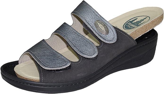 Franken Schuhe Damen Pantolette Leder Wechselfussbett Nightblue Gr 37-42