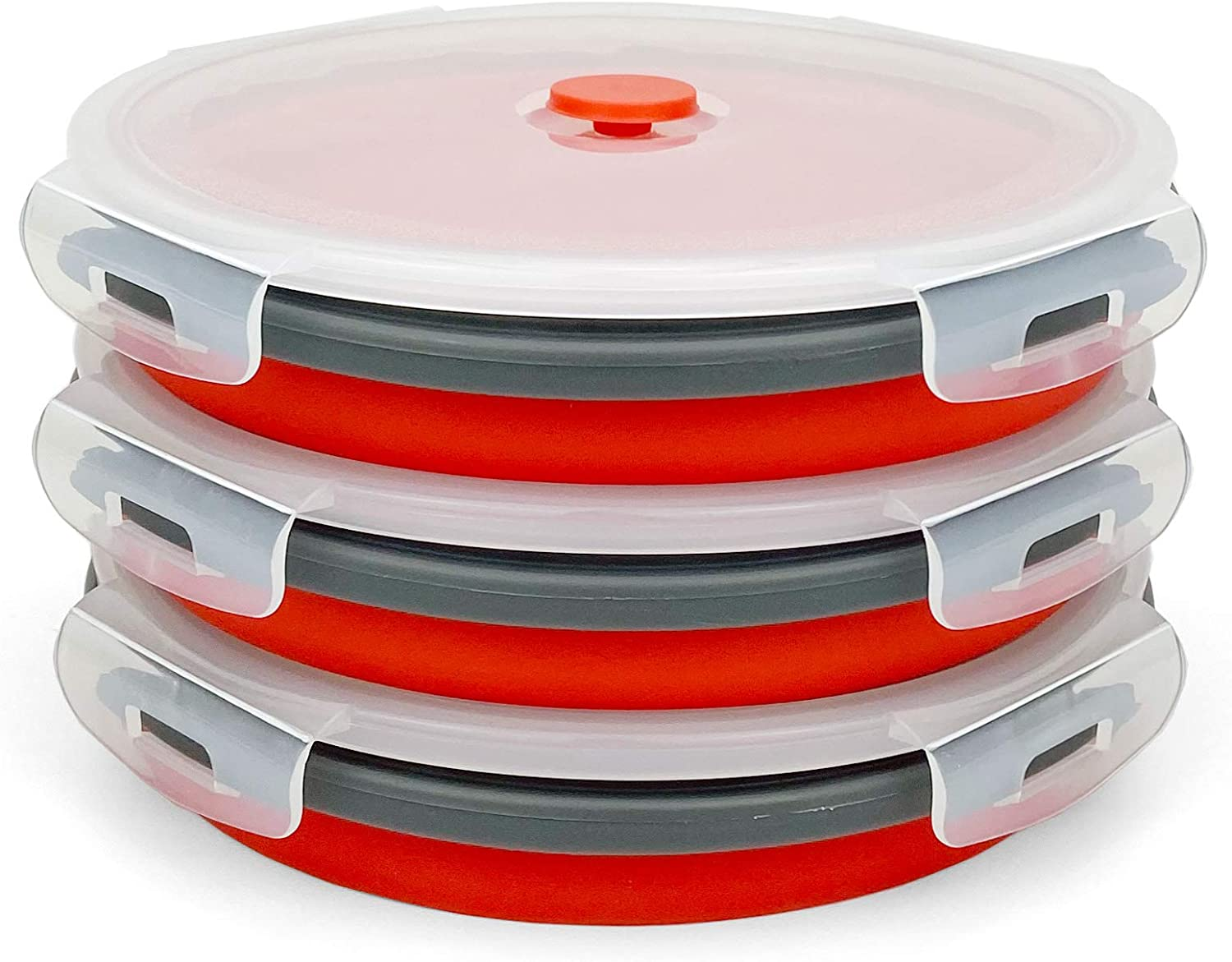 CARTINTS 1200ml Large Collapsible Meal Prep Containers, Reusable Silicone Food Storage Containers, Stackable Fridge Storage Containers, With Leakproof Lids, Microwave and Freezer Safe, Red