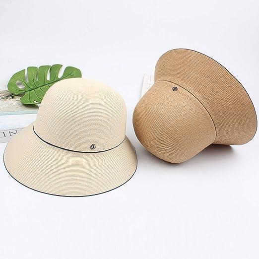 9950f1e74b0cd YQXR Moda Sombreros Sombrero Japonés Pequeño Viaje Fresco y Simple Plegable  Pescador Sombrero Mujer de Primavera y Verano Papel Hierba Sombrero de Paja  ...