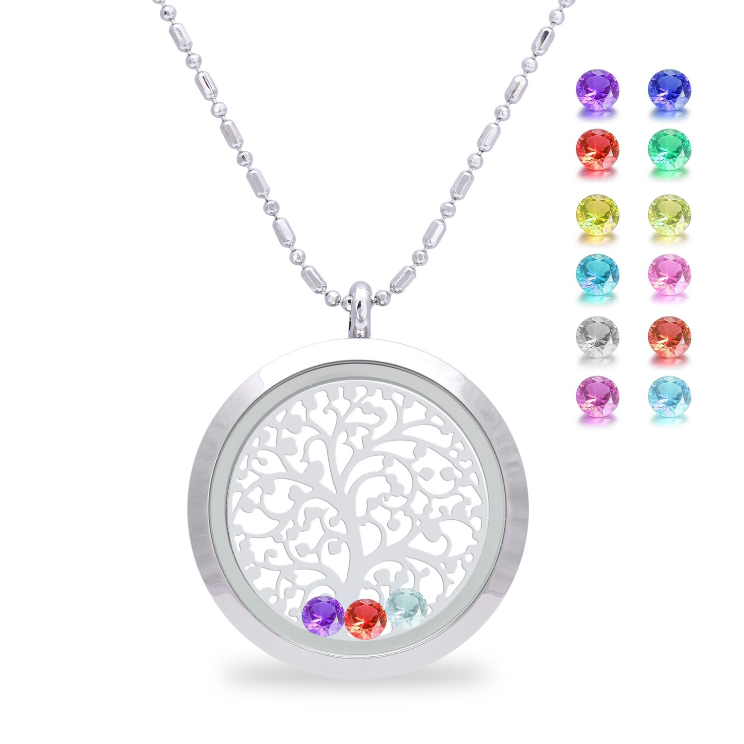 Family Tree of life Screw Floating Charm Living Memory Locket Pendant Necklace, Mom birthday gifts, mother gifts from daughter, christmas day gifts for mom, friendship, sweetheart (Smooth)