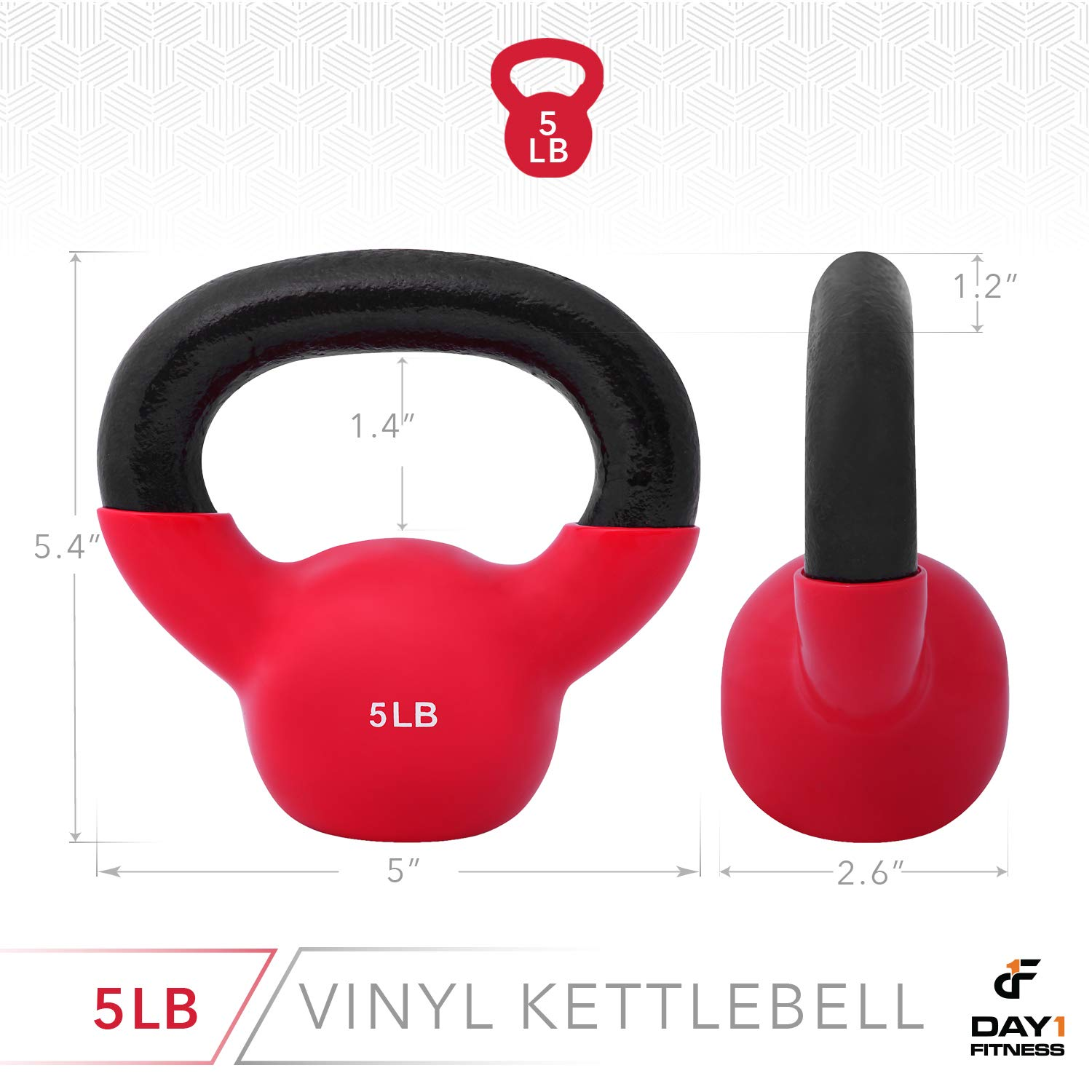 Day 1 Fitness Kettlebell Weights Vinyl Coated Iron 5 Pounds - Coated for Floor and Equipment Protection, Noise Reduction - Free Weights for Ballistic, Core, Weight Training by Day 1 Fitness (Image #3)