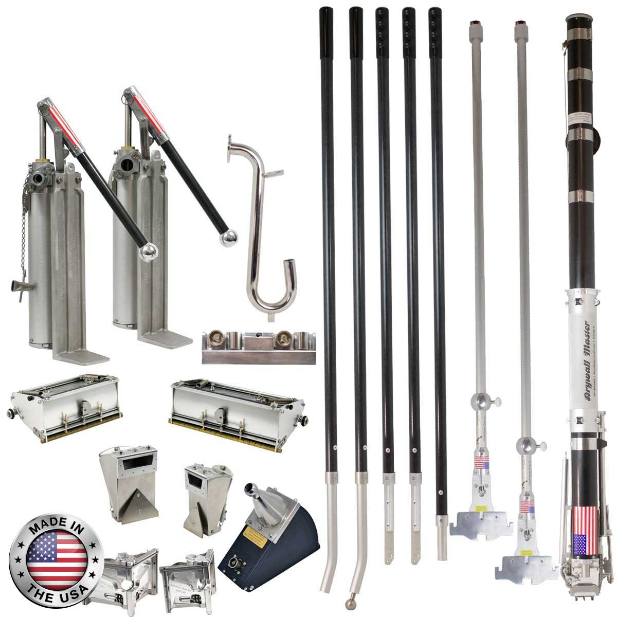 Drywall Master 7/10 Ultimate Pro Automatic Taping and Finishing Set - Taper, 2 Pumps, 7/10 Boxes, 2 Nail Spotters, Corner Tools, Handles
