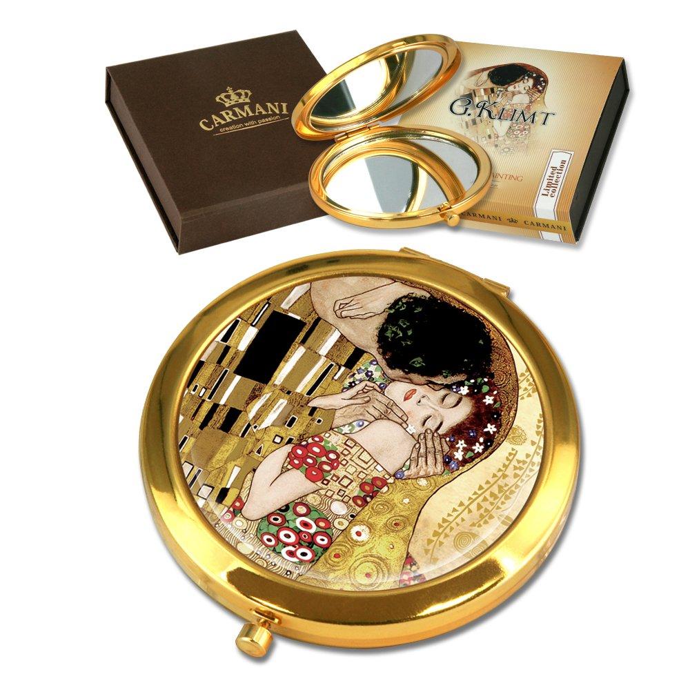 CARMANI - Plaqué Or Bronze Poche, Compact, Voyage, Miroir décoré de la Peinture de Klimt 'Le Baiser'