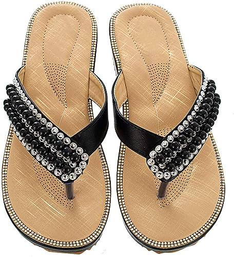 Damen Zehentrenner Flip Flops Plattform Flach Sandalen Mit Strass 37 Eu Schwarz Schuhe Handtaschen