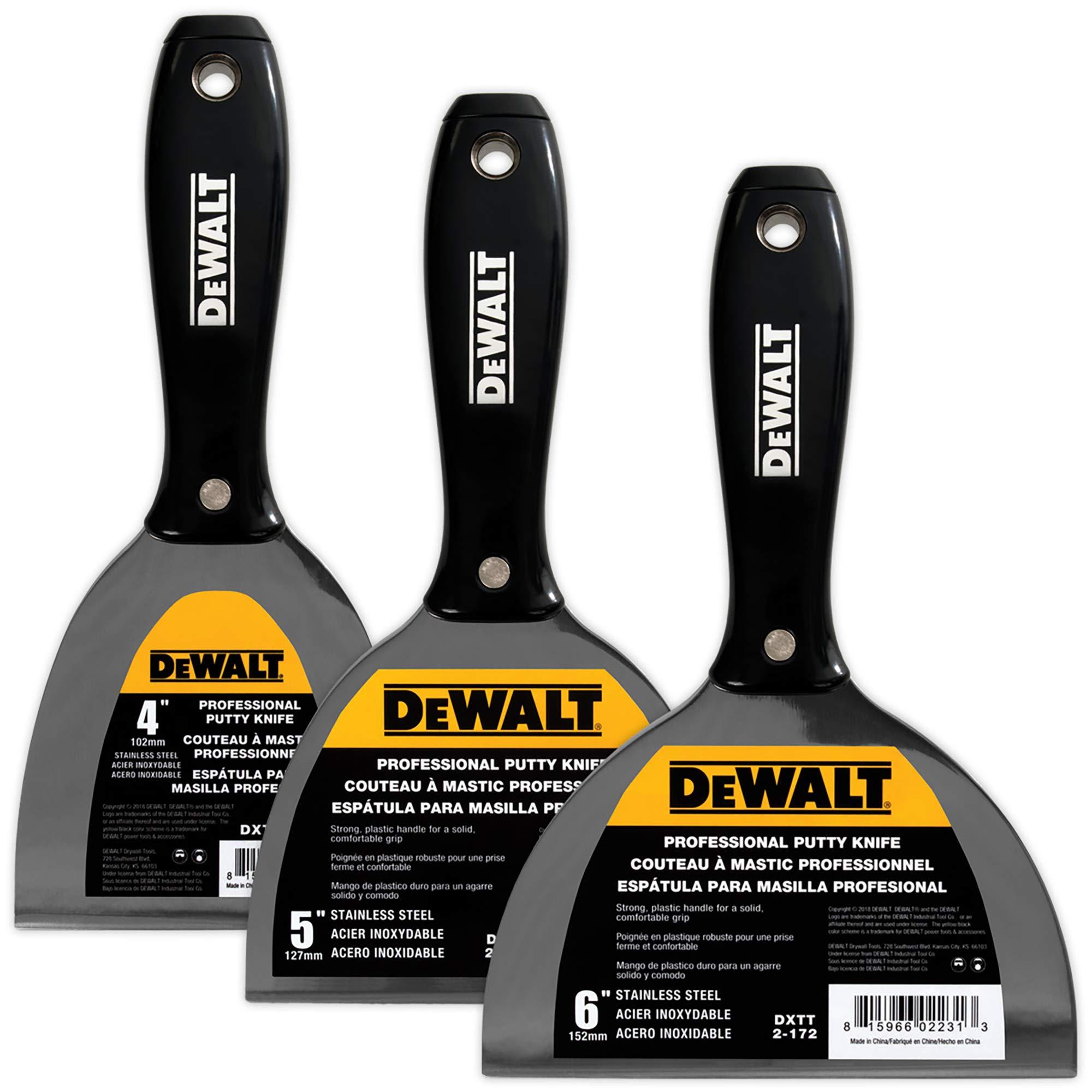 DEWALT Stainless Steel Putty Knife 3-Pack | 4/5/6-Inches | DXTT-3-170