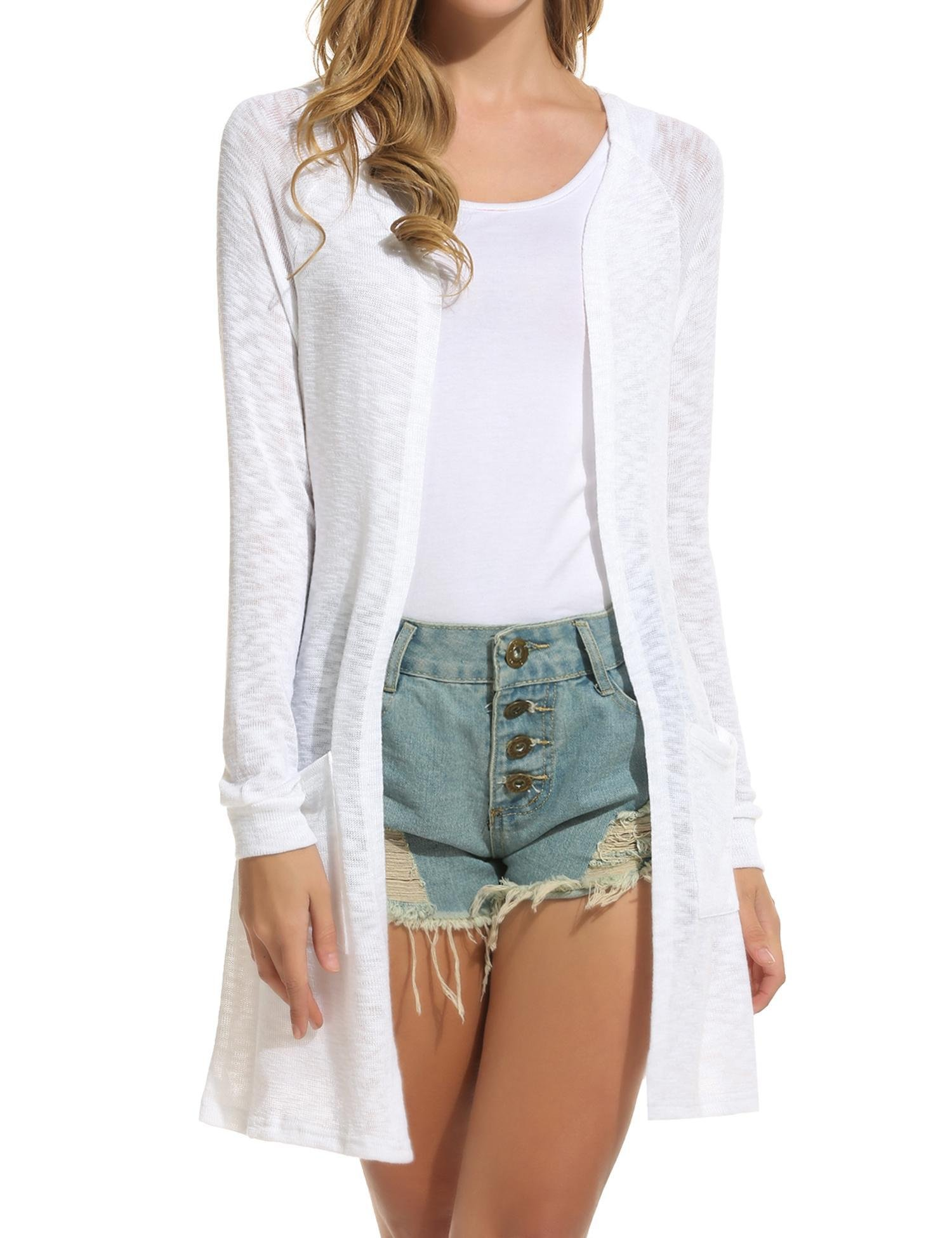 ELESOL Women's Open Front Casual Long Sleeve Knitted Cardigan Sweater White S
