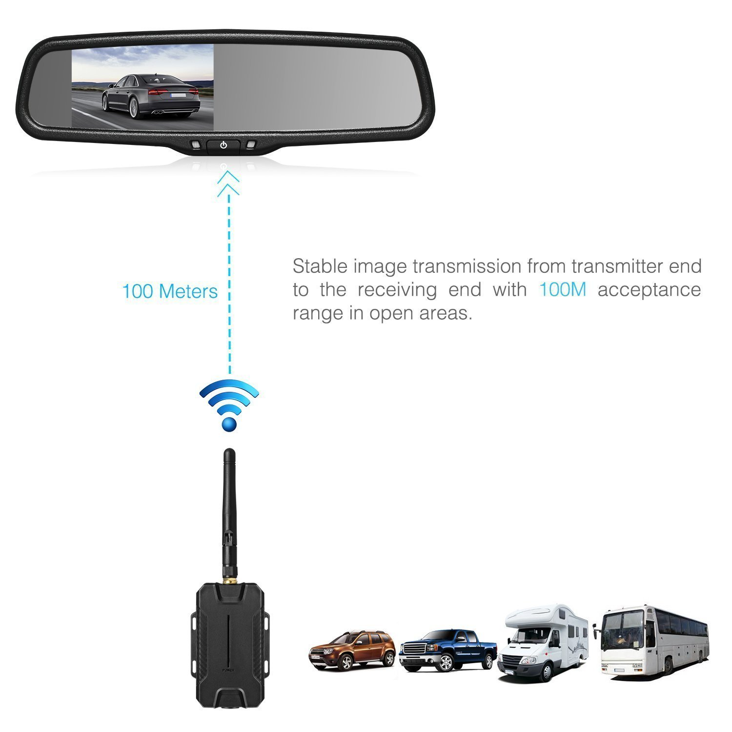 AUTO VOX Wireless Reverse Camera Kit Car Backup Camera with Rear View Mirror Monitor and IP 68 Waterproof Reversing Camera LED Super Night Vision Back Up Car Camera Kit Easy Installation by AUTO-VOX (Image #3)