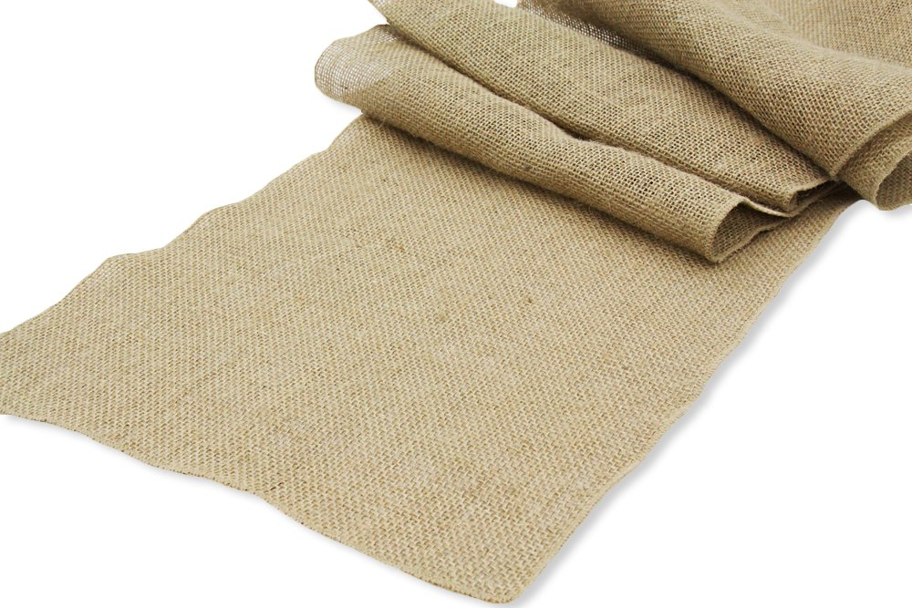 OWS Pack of 10 Wedding 12 x 108 inch Burlap Table Runner Natural Jute Country Vintage for Wedding Banquet Decoration - Natural Jute Burlap