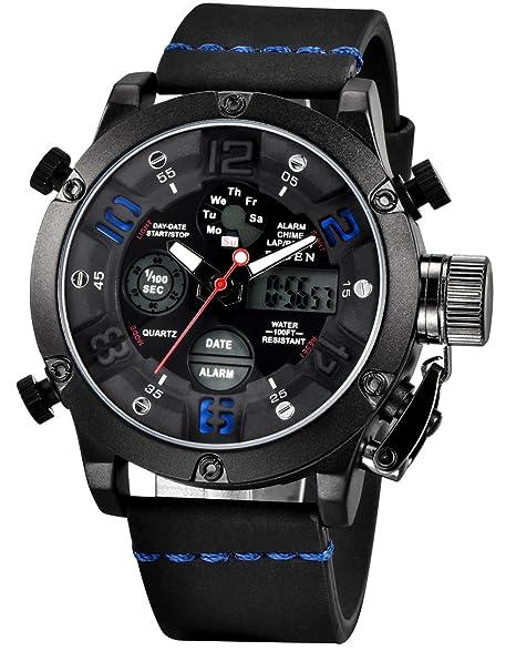 Relojes Hombre Reloj Militar Deportivos Digital Impermeable LED Cronometro Calendario Fecha Electrónico Reloj Grandes de Pulsera de Analógico Cuarzo Diseño ...