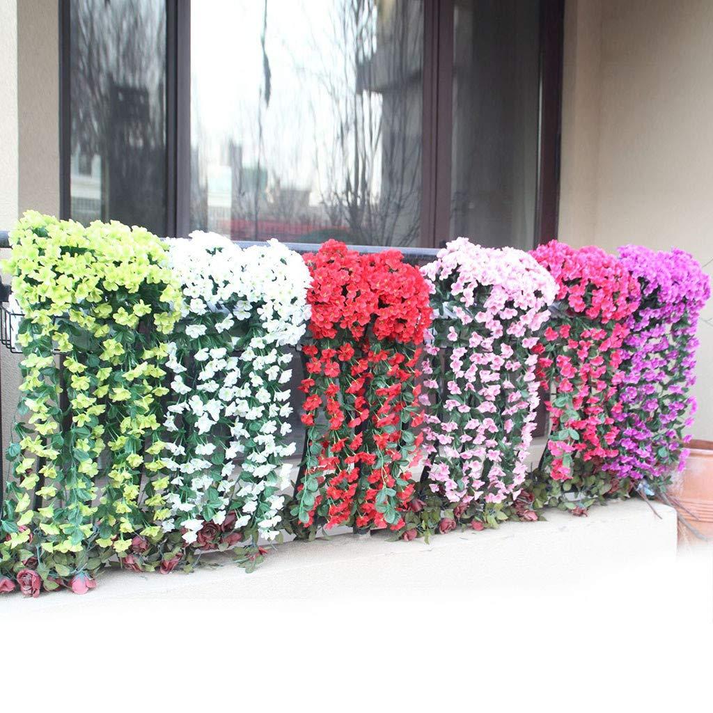 Fleurs artificielles Vert Mamum Suspension Fleurs Artificielle Fleur Violette Mur De Glycine Panier Suspendu Guirlande Fleurs De Vigne Faux Soie Orchid/ée Jardin De Mariage D/écoration de La Maison