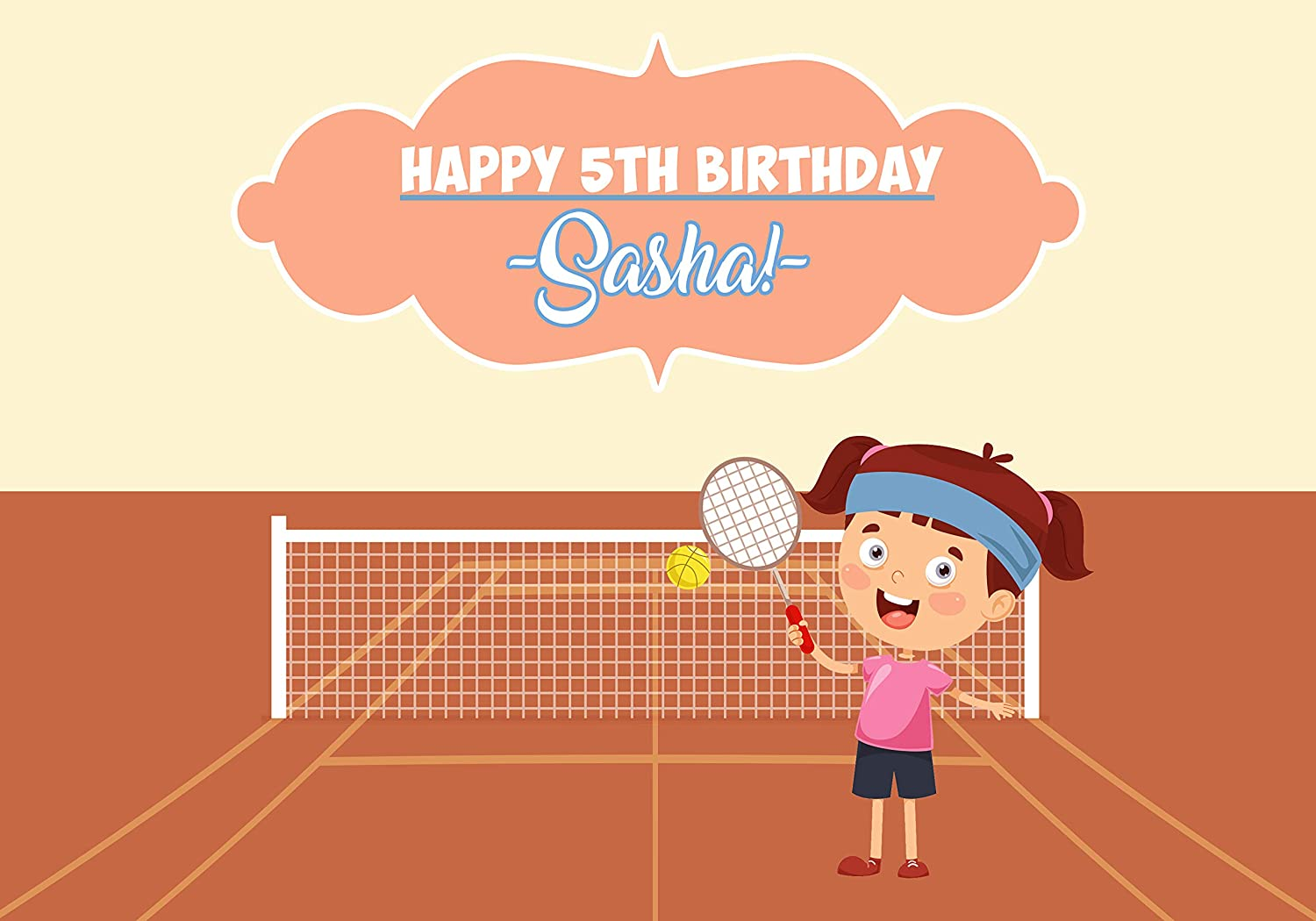 Happy Birthday Tennis Kid Banner Personalized Party Decoration Backdrop