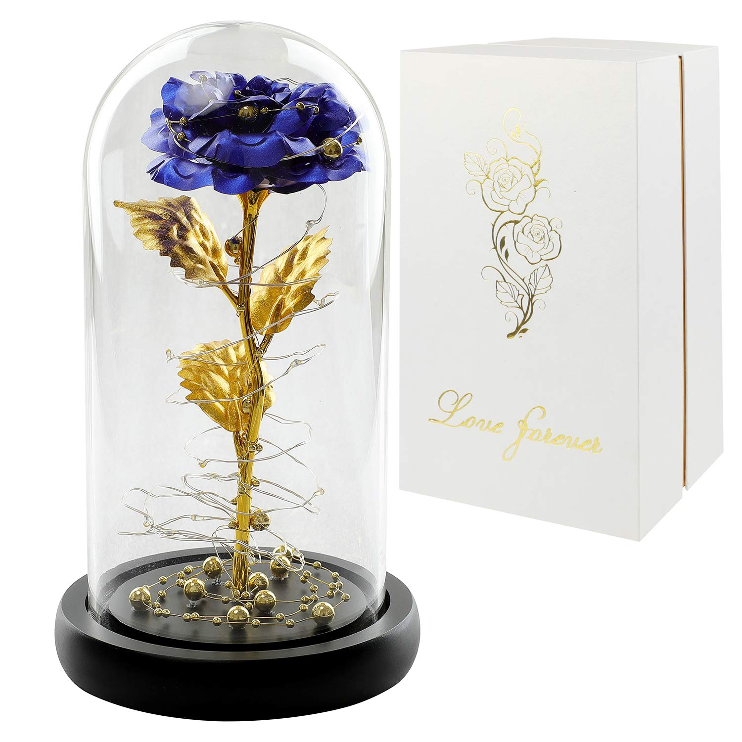 Women, Glass Rose Dome, Blue LED Rose Flower in Glass Dome,Artificial Flowers Last Forever,Preserved Rose,Forever Rose Gift Mother, Valentine's Day,Wedding, Anniversary,Girlfriend