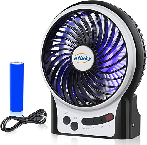 efluky 3 Speeds Mini Desk Fan, Rechargeable Battery Operated Fan with LED Light