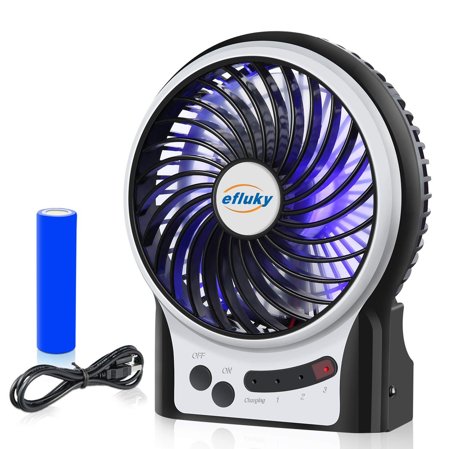 efluky 3 Speeds Mini Desk Fan, Rechargeable Battery Operated Fan with LED Light and 2200mAh Battery, Portable USB Fan Quiet for Home, Office, Travel, Camping, Outdoor, Indoor Fan, 4.9-Inch, Black by efluky