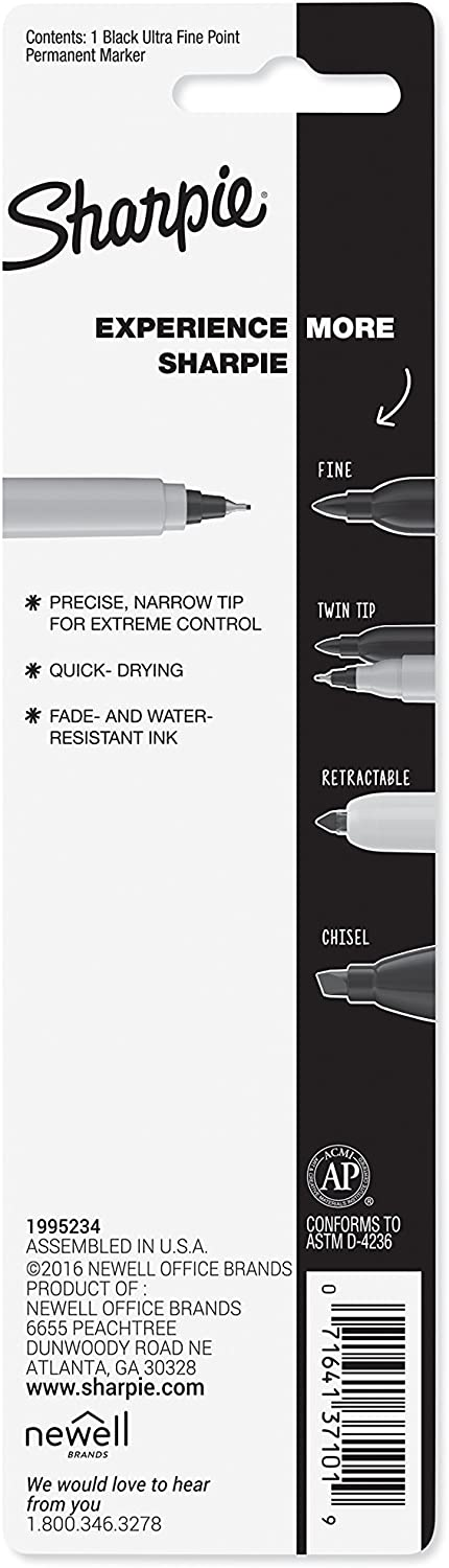 Green Ink 37114 Sharpie Permanent Marker Ultra Fine Point Pack of 5