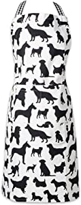 DII 100% Cotton, Everyday Basic Home Kitchen, Restaurant, Adjustable Neck and Waist Ties, Front Pockt, Pet Lover, Chef's Apron Show, Dog Print,CAMZ37432