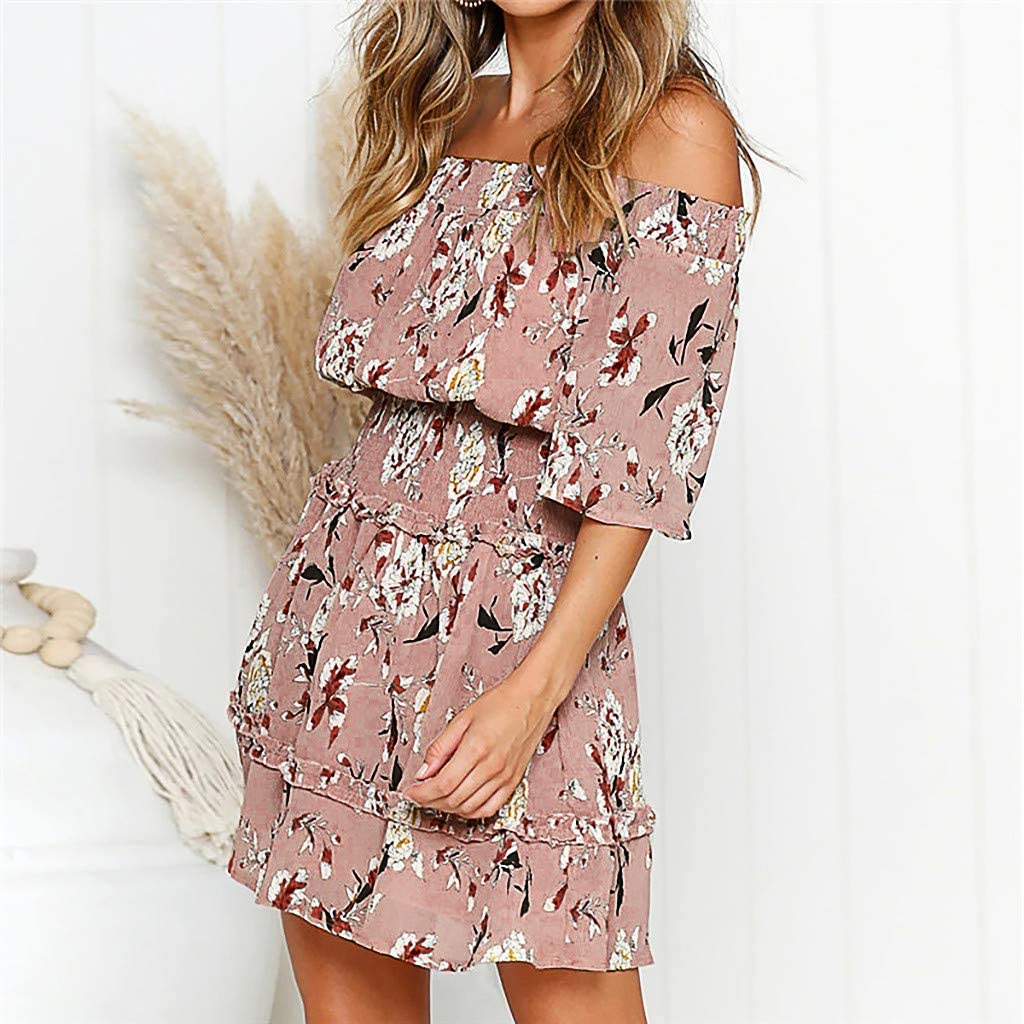 Womens Dresses Womens Off The Shoulder Ruffles Pleated Summer Loose Casual Chiffon Printed Party Beach Short Dress