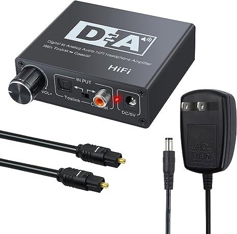 Neoteck 192KHz DAC Digital a Analog Convertidor SPDIFToslink óptico coaxial a analógico estéreo izquierdo/derecho RCA 3,5 mm Jack Audio Adaptador con interruptor bidireccional para PS3 Xbox HD DVD PS4 Sky Blu-Ray: Amazon.es: