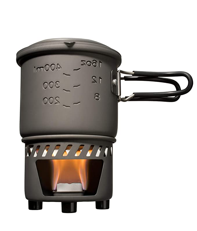 Esbit Cookset Conjunto para cocinar con combustible sólido (bote sin revestimiento antiadherente), color gris, talla 585mL