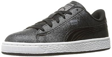 PUMA Basket Holiday Glitz Kids Sneaker (Little Kid/Big Kid), Black,