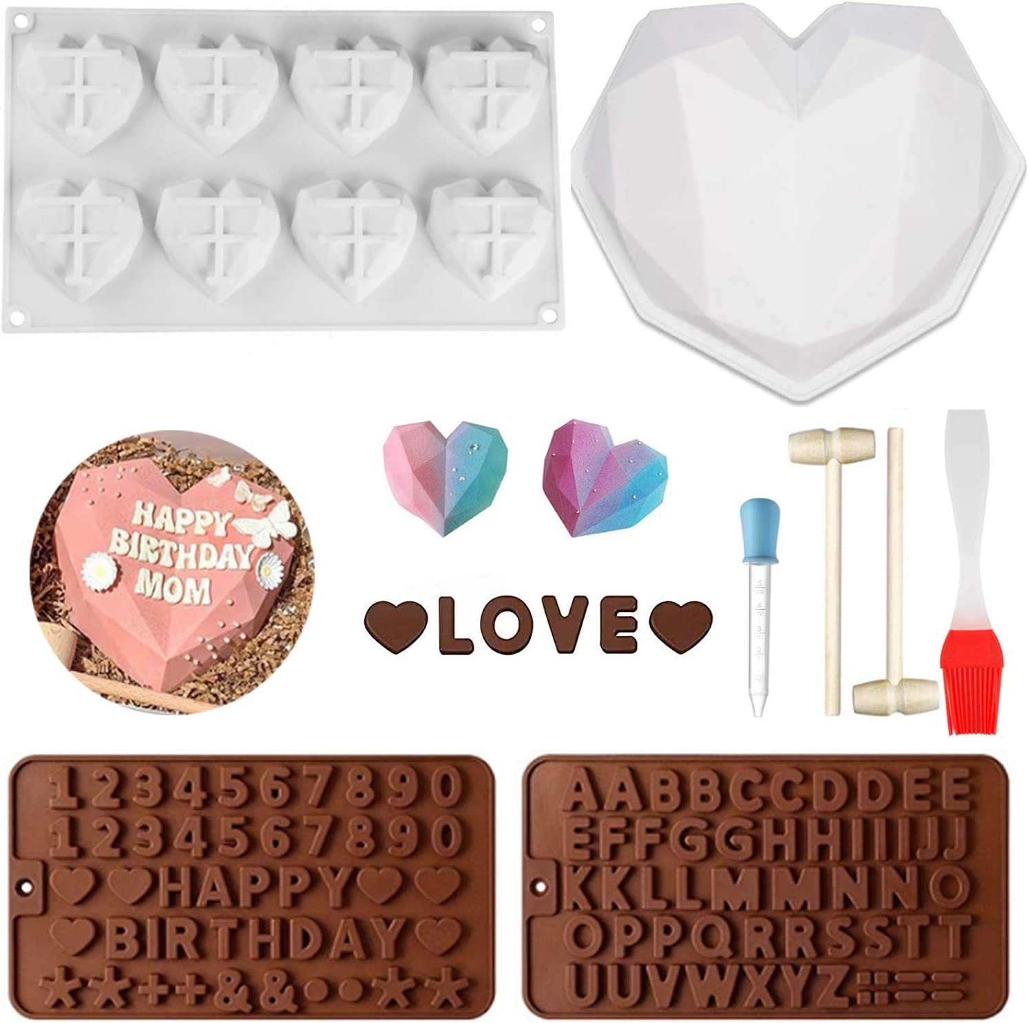 Diamond Heart Shaped Mousse Cake Mold Trays, Silicone Dessert Baking Pan Safe Not Sticky Mould with Dropper,Pastry& Brushes,Chocolate Molds for Home Kitchen DIY Baking Tools (Diamond Heart Shaped)