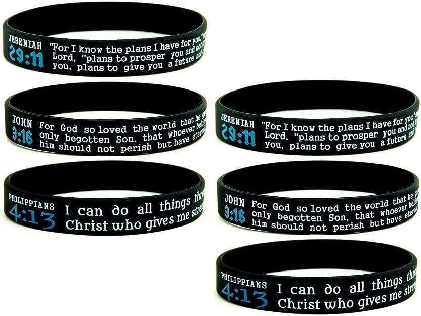 - Unisex Adult Size for Men Women Teens Love Wristbands w//Bible Verses Hope Inkstone Faith 6-Pack