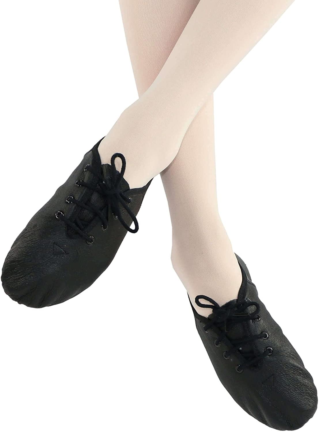 Danzcue Womens Leather Lace up Jazz Shoes