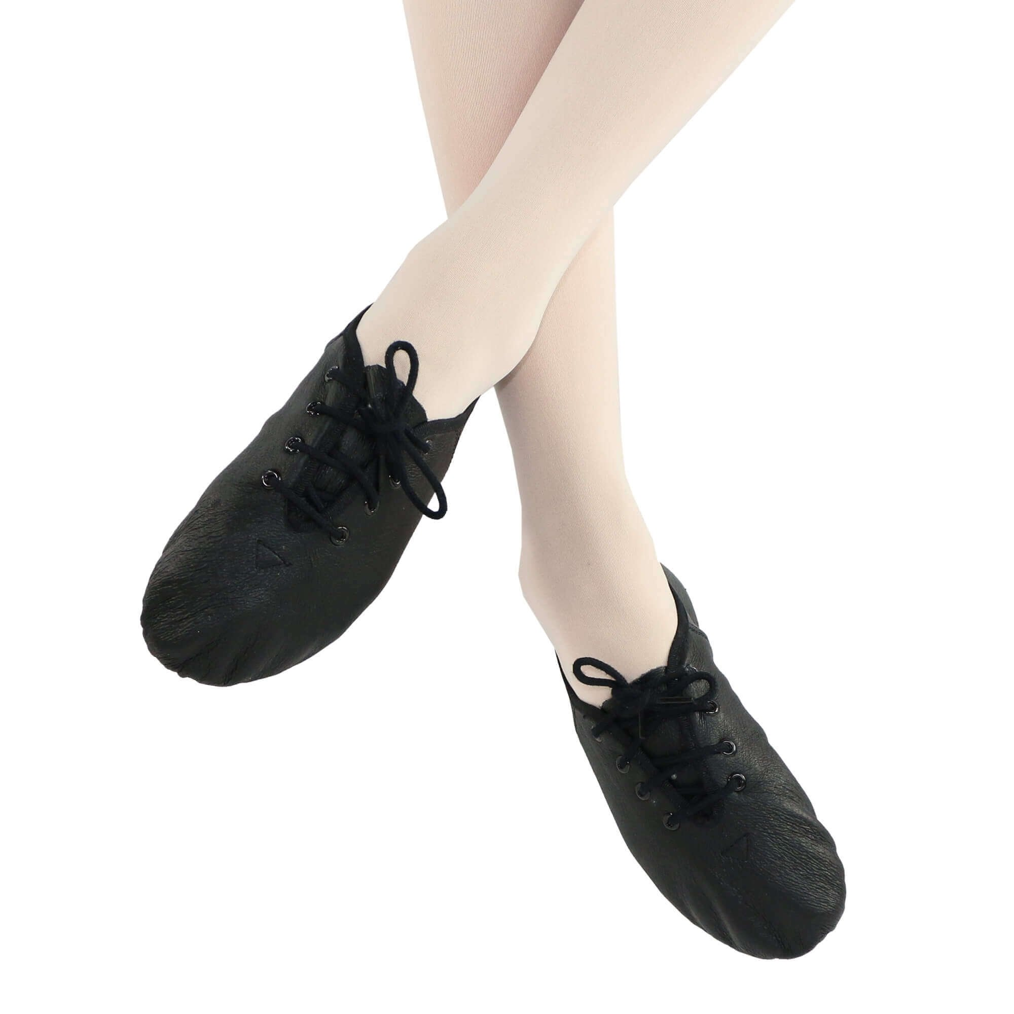Danzcue Womens Black Leather Lace up Jazz Shoes, 8 M US by Danzcue (Image #2)