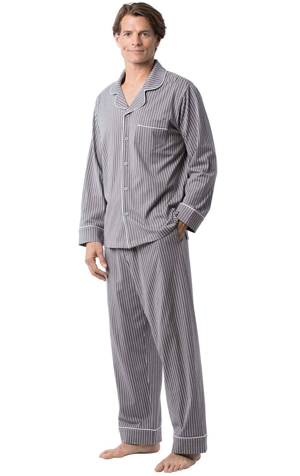 PajamaGram Classic Mens Pajamas Cotton - Men Pajamas Set, Charcoal Stripe, SM