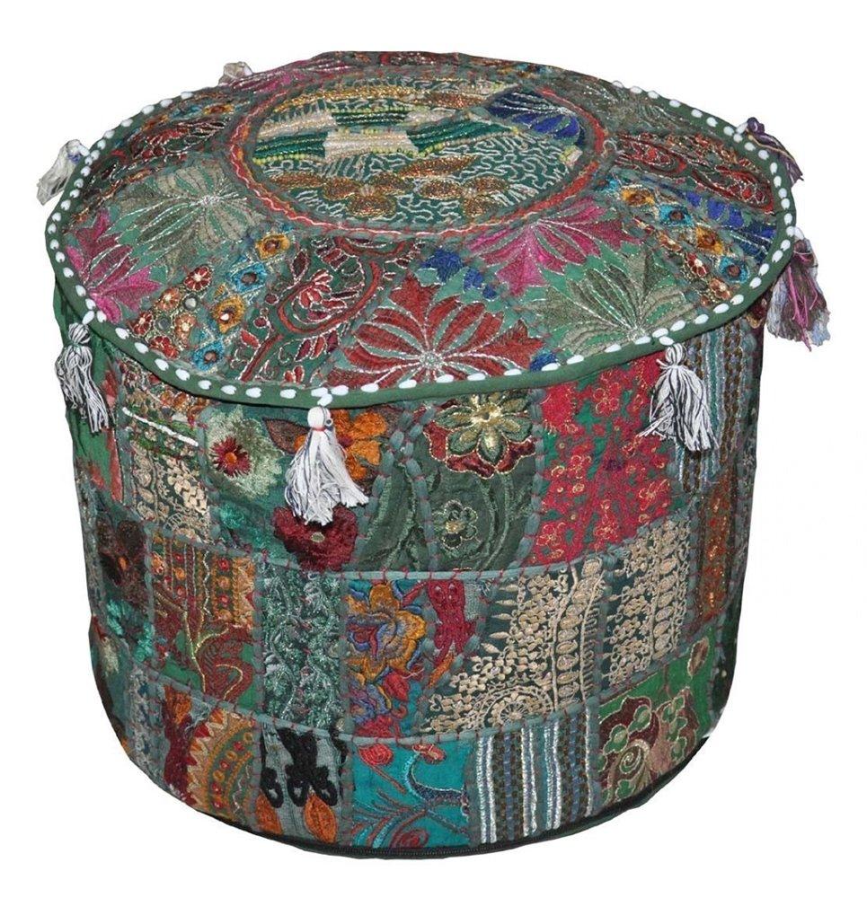 Khambadiya Patchwork Bean Bag Round Ottoman Pouf Asian Art Pouffe Cover Mix