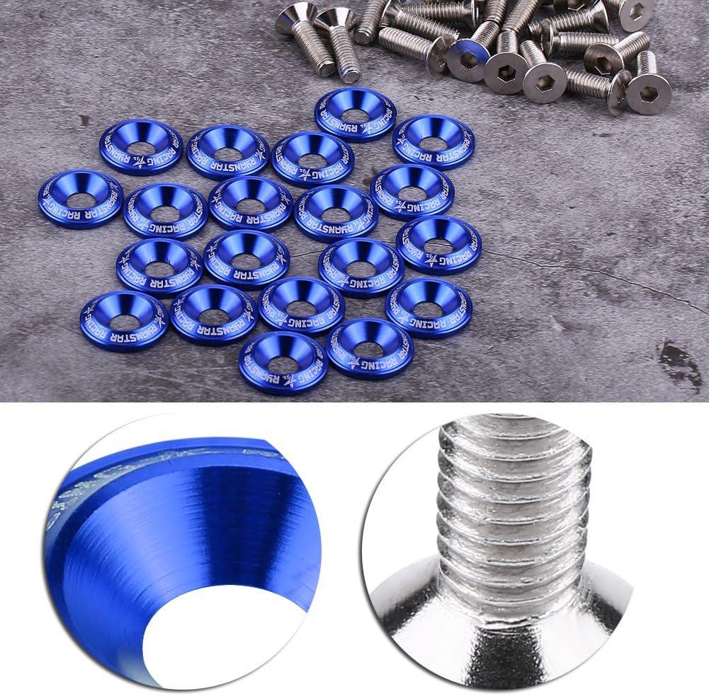 Eurobuy Kit de Pernos de Arandela de Parachoques//Guardabarros de Aluminio de 20 Piezas Kit de Vestimenta de La Bah/ía Del Motor Azul