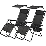 PayLessHere Zero Gravity Chairs 2 Set Lounge Patio Chairs with canopy Cup Holder
