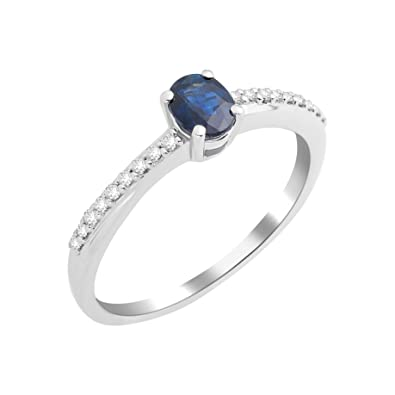 Miore La s 9ct White Gold Sapphire Diamond Ring Size Q Amazon