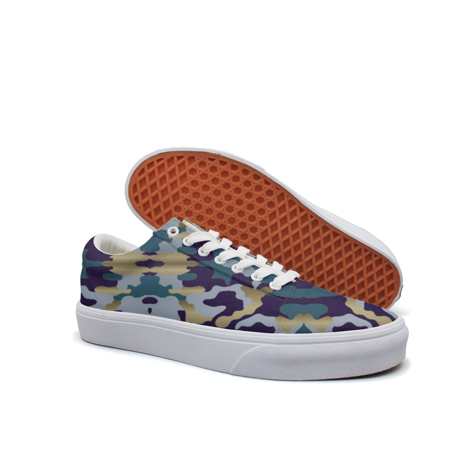 KKLDFD Snow Camo Camo Patterns Hunting Hunting Coats Womens Canvas Low-top Slip On Shoes Soft Spot White