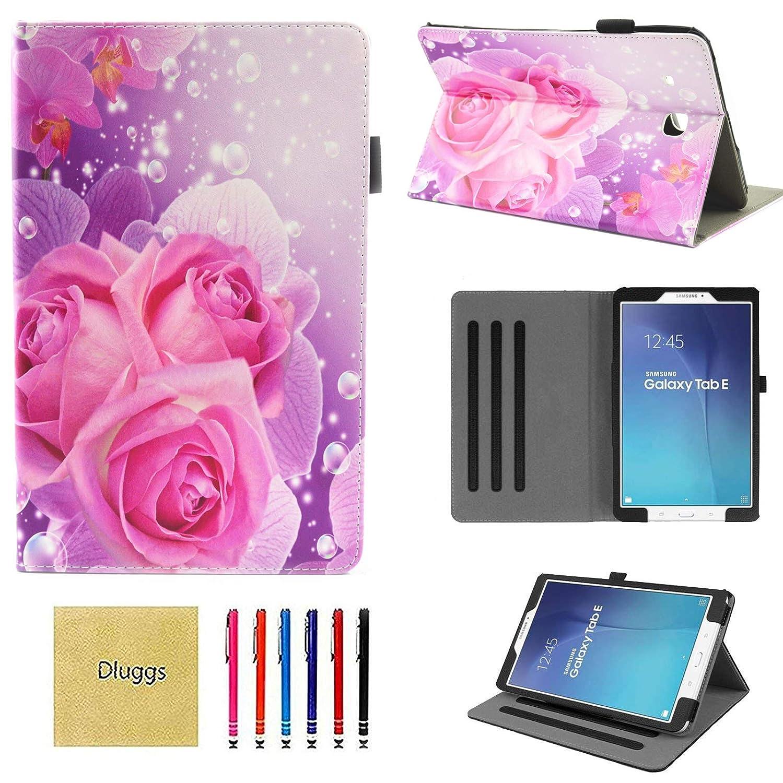 【2018年製 新品】 Dluggs B07L62NRZJ Samsung Galaxy Tab Pink Nook E 9.6ケース SM-T560ケース スリムフィット 軽量 保護 PUレザー 二つ折りスタンドケース カードスロット付き Galaxy Tab E/Tab E Nook 9.6インチタブレット用 DLG1008 06 Pink Flower B07L62NRZJ, ロイヤレント:036f2edb --- a0267596.xsph.ru