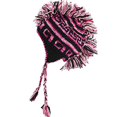 d803cc90570 MOHAWK PUNK HAT WOOL KNIT FLEECE LINED EARFLAP BEANIE BLACK PINK SPACE DYE   Amazon.co.uk  Clothing