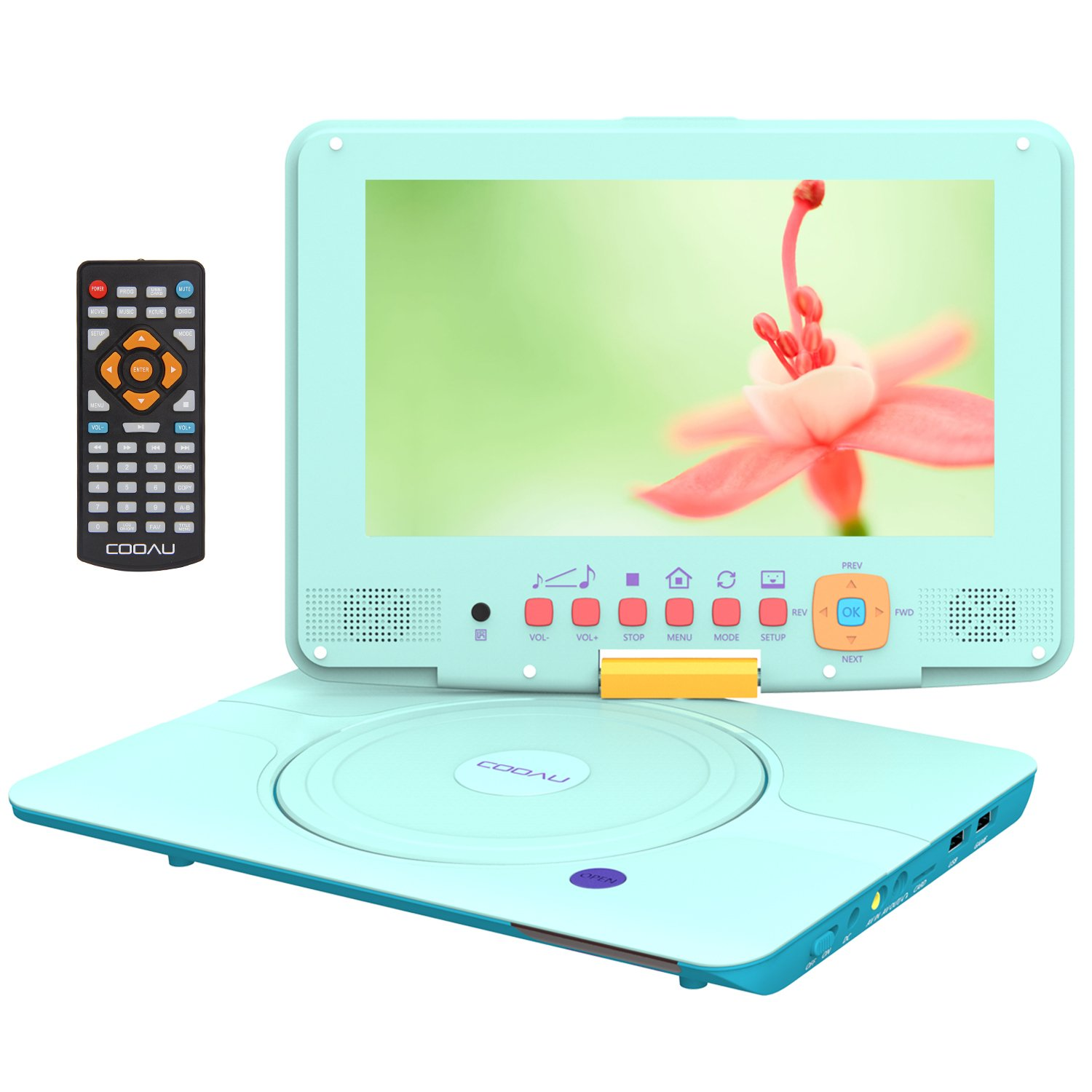 COOAU 12'' Kids Portable DVD Player with 9'' Swivel Screen, 5 Hours Rechargeable Battery, Remote Controller, Car Charger, Support TF Card/USB/Sync Screen/1080P Video Playback, Light Blue