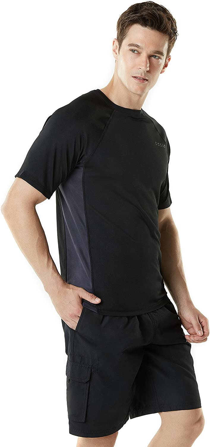 - Black /& Charcoal mss01 TSLA Mens UPF 50+Swim Shirt Loose-Fit Swim Tee Rashguard Top Active Sun Block S