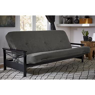 DHP 6-inch Coil Futon Couch Mattress with CertiPUR-US certified foam, Full Size - Charcoal