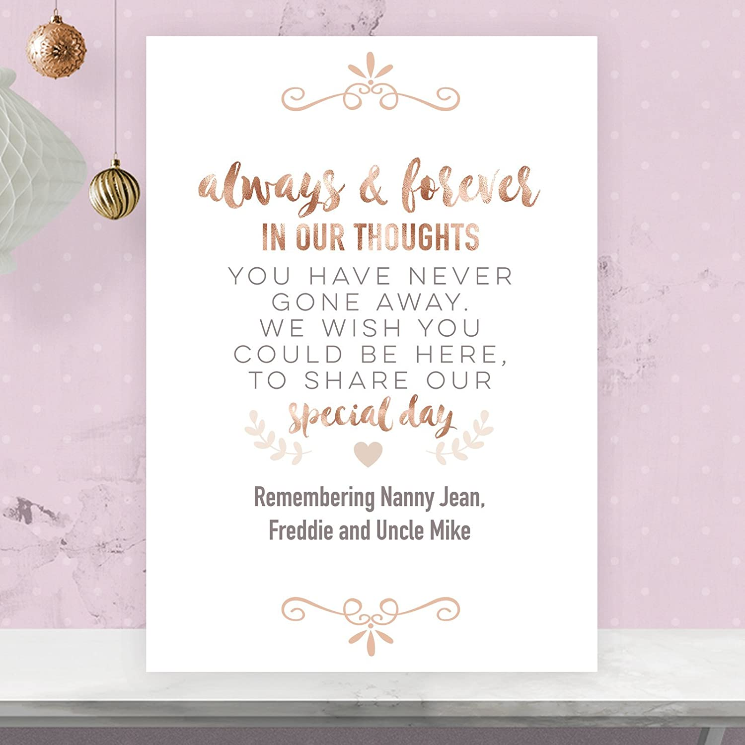 Personalised Wedding Memorial Table Heaven Sign in Rose Gold Effect ...